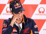TOPSHOT - Spain's Dani Pedrosa attends a press conference ahead the MotoGP race of the motorcycling Grand Prix at the Sachsenring in Hohenstein-Ernstthal on July 12, 2018. Spain's Dani Pedrosa, three-times a world MotoGP championship runner-up, announced he will retire at the end of the season. The 32-year-old Honda pilot, who won the 125cc category in 2003 and 250cc in 2004 and 2005, currently sits in 12th spot of the MotoGP standings ahead of this weekend's German race in Sachsenring.  / AFP PHOTO / dpa / Jan Woitas / Germany OUT